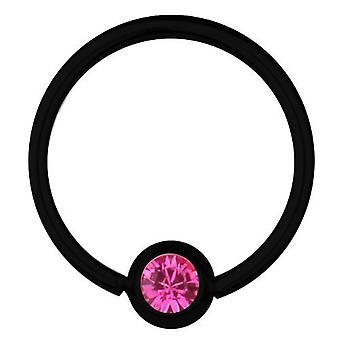 BCR Black Titanium Piercing 1,6 mm, SWAROVSKI ELEMENTS Pink | 8 - 16 mm