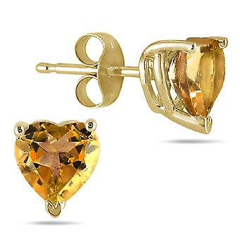 Forma de corazón genuino citrino 4mm pendientes, de 14 K oro amarillo
