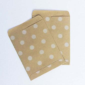 Small Kraft polka dot paper bags/ envelopes X 10 wedding party accessories