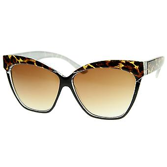 Womens Oversized Cat Eye Sunglasses with Printed Brow Detail