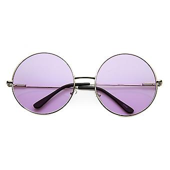 Womens Fashion Oversized Color Tint Lens Metal Circle Round Sunglasses