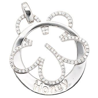 Rhodium-plated pendant honey 925 sterling silver with cubic zirconia