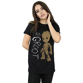 Marvel Women's Guardians Of The Galaxy I Am Groot Scribbles Boyfriend Fit T-Shirt