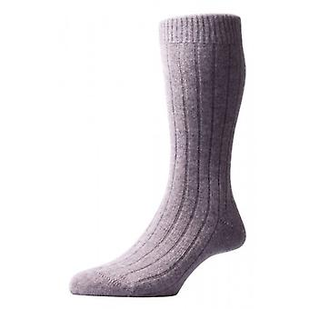 Pantherella Waddington Rib Luxury Cashmere Socks - Flannel Grey
