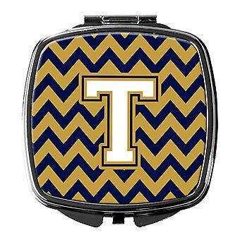 Letter T Chevron Navy Blue and Gold Compact Mirror