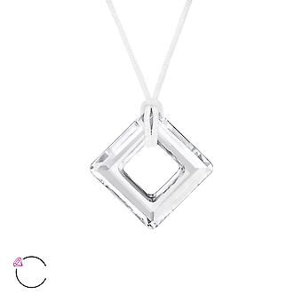 Square crystal from Swarovski® - 925 Sterling Silver + Nylon Cord Necklaces