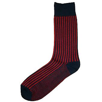 Bassin and Brown Vertical Stripe Midcalf Socks - Navy/Red