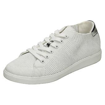 Ladies Reflex Ribbed Lace Up Pumps - White Textile - UK Size 4 - EU Size 37 - US Size 6