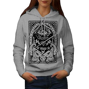 Triangle Horror Vintage Women GreyHoodie | Wellcoda