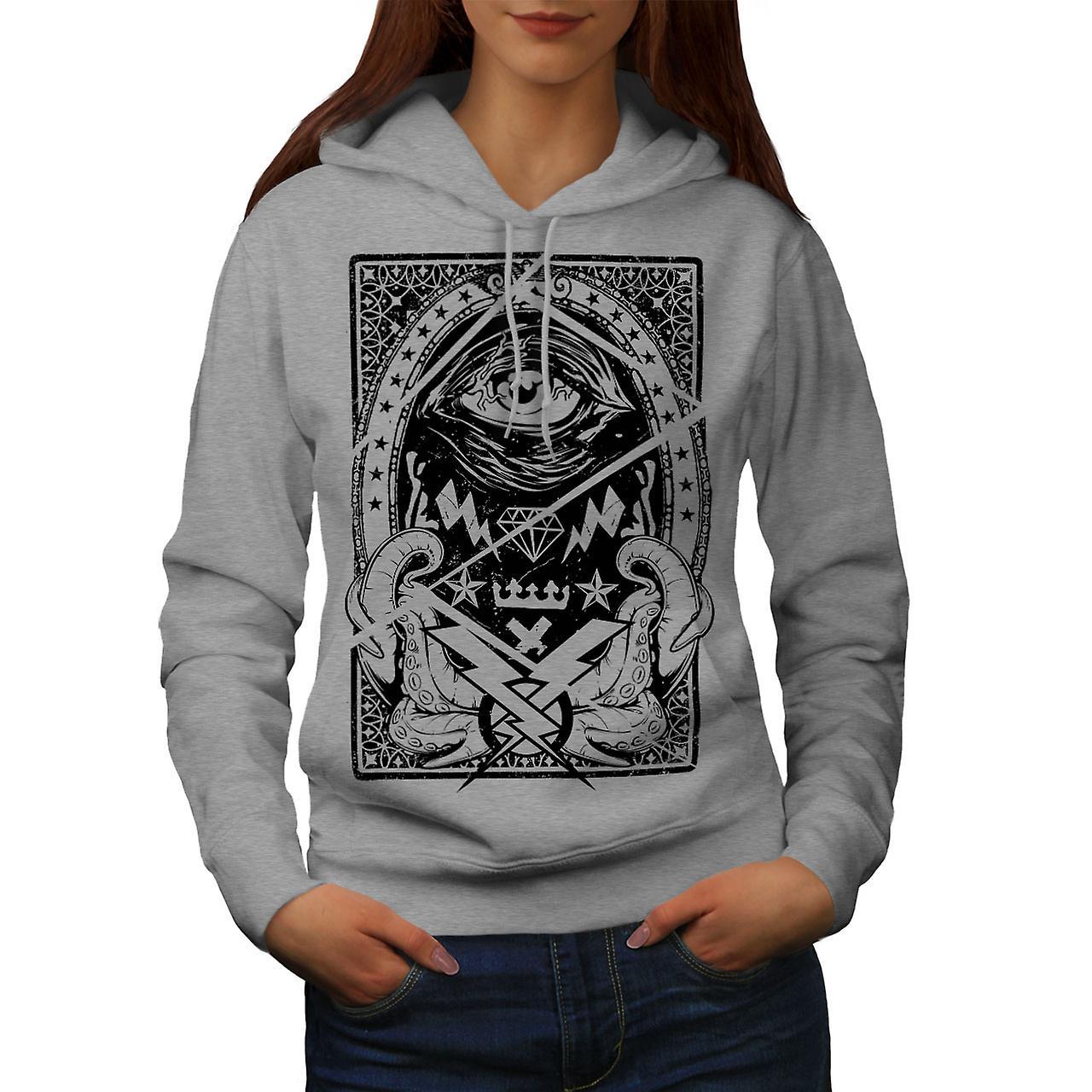 Triangle Horror Vintage Women GreyHoodie   Wellcoda