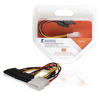 König KNC73520V015 Interne Stroom Adapterkabel Molex Male - 2x Sata 15-pins Female 0,15 M Mult