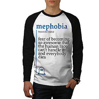 Mephobia Awesome Men White (Black Sleeves)Baseball LS T-shirt | Wellcoda