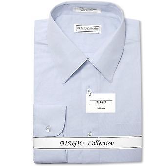 Biagio Men's 100% COTTON Solid Dress Shirt w Convertible Cuffs