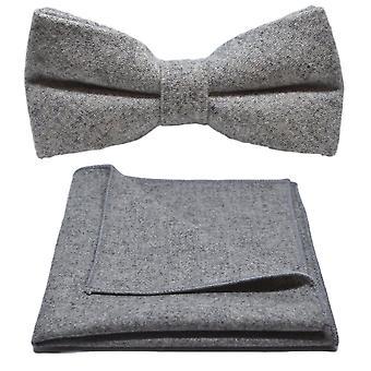 Stentvättad Medium grå fluga & Pocket Square Set