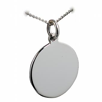 Silver 20mm round plain Disc with a curb Chain 24 inches