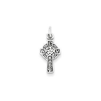 925 Sterling Silver Celtic Cross Charm Pendant - 21mm