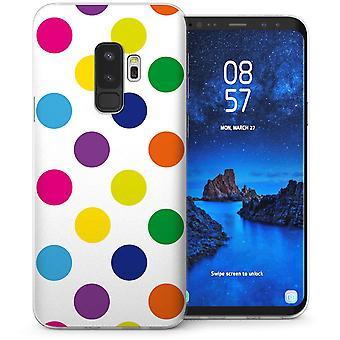 S9 Samsung Galaxy Plus arco iris lunares Gel de TPU – blanco