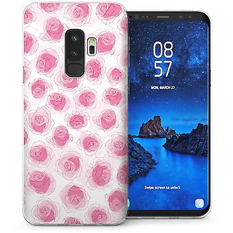 Samsung Galaxy S9 Plus Pastell Rose Zeichnung TPU Gel Case – Pink