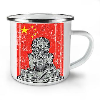 China Flag Lion NEW WhiteTea Coffee Enamel Mug10 oz | Wellcoda
