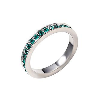 Alliance ring adorned with Green Swarovski crystals