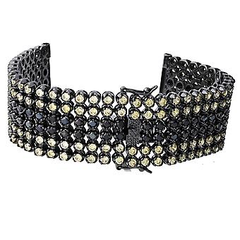 Iced Out BLING Uhren Armband - 6 ROW BLACK GOLD