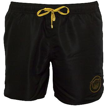 Emporio Armani EA7 Luxe Soccer Archive Swim Shorts With Shield Logo, Black/gold