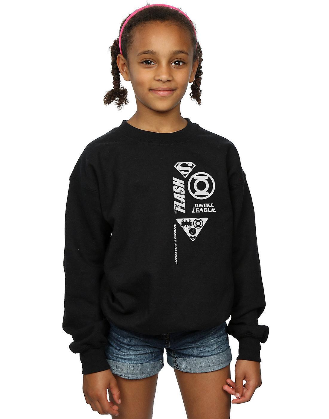 DC Comics Girls Justice League Chest Icons Sweatshirt