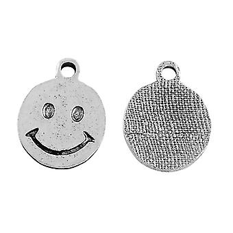 Packet 10 x Antique Silver Tibetan 17mm Smiley Face Charm/Pendant ZX07765