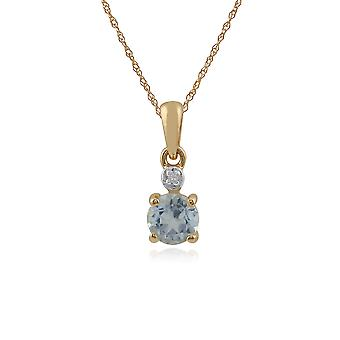 Gemondo 9ct Yellow Gold 0.44ct Aquamarine & Diamond Round Pendant on 45cm Chain