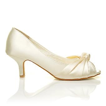 PARIS Ivory Satin Kitten Medium Heel Bridal Peeptoe Shoes