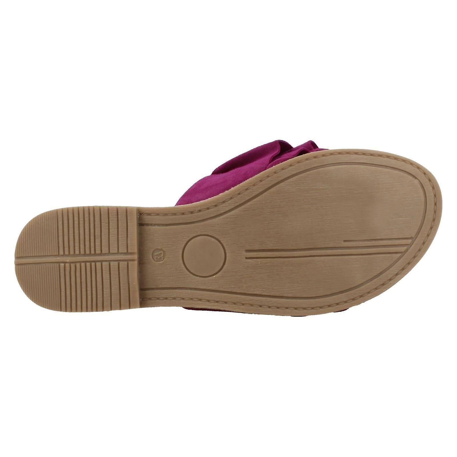 8 US Size Leather F00126 Collection UK Ladies Vamp Suede 10 Magenta Size Frill Mules EU 41 Size Leather nZxnAwBP