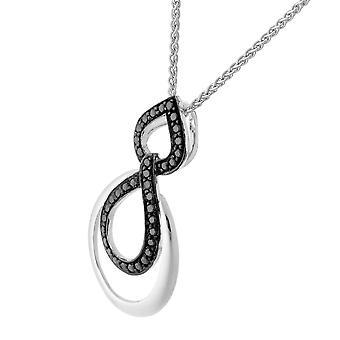 Orphelia Silver 925 Chain With Pendant Double Drop Black Zirconium  ZH-7092/2