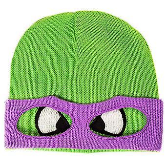 Teenage Mutant Ninja TURTLE (TMNT) Unisex Donnie Face & Mask Cuffless Beanie One Size Green/Purple (KC07QQTMT)