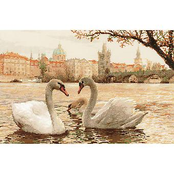 Swans Prague Counted Cross Stitch Kit-17.75