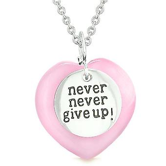 Amulet Never Give Up Inspirational Puffy Magic Heart Pink Simulated Cats Eye Pendant Necklace