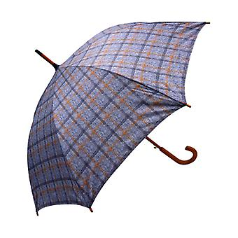 Tweed Check Print Gray Straight Umbrella