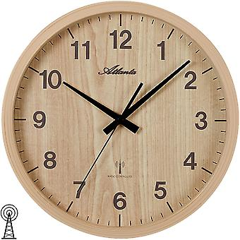 Wall clock radio radio controlled wall clock analog Brown light brown round wooden optics ø 30.5 cm