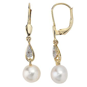 Earring Pearl Earring boutons, 585 / - Gelbgold, part of rhodium-plated, 2 Freshwater Pearl, 2 diamond diamonds