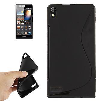 Mobiele case TPU case voor Huawei Ascend P6 zwart