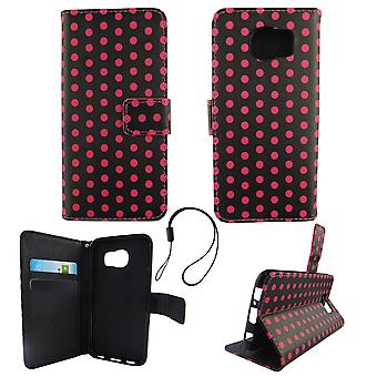 Mobile phone case pouch for mobile Samsung Galaxy S6 polka dot black pink