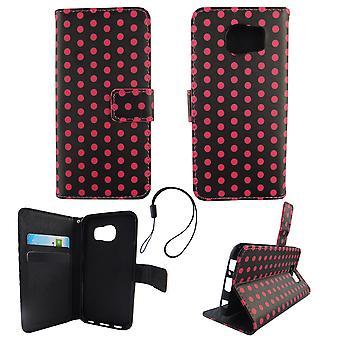 الحقيبة حالة الهاتف المحمول موبايل سامسونج غالاكسي S6 بولكا دوت الأسود الوردي