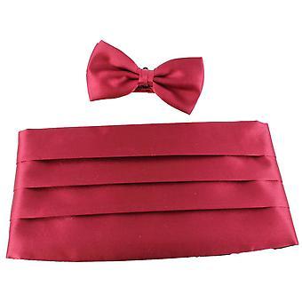 Knightsbridge Neckwear Bow Tie and Cummerbund Set - Wine