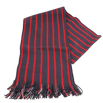 Bassin and Brown Edrich Striped Reversible Wool Scarf - Charcoal/Red
