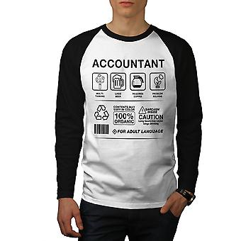 Accountant Multitasking mannen (zwarte mouwen) honkbal LS T-shirt White | Wellcoda