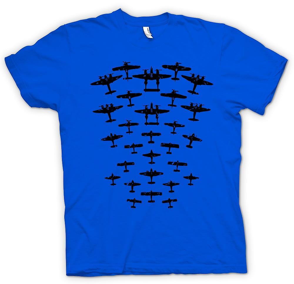 Herr T-shirt - WW2 bombplan och jaktplan - rolig Design