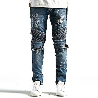 Embellish Turkish Biker Denim Indigo Distressed