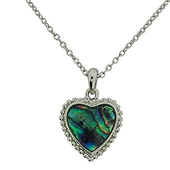 The Olivia collection Green Heart Paua Shell Pendant 16