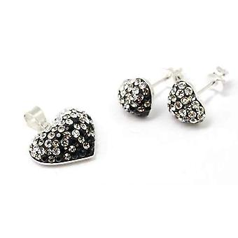 TOC Sterling Silver Black Austrian Crystals Heart Earrings & Necklace 18