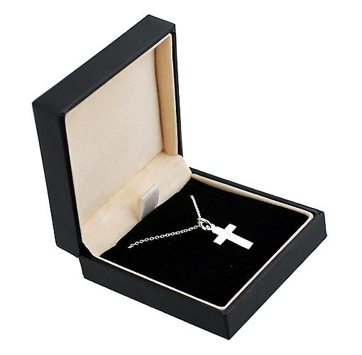 Silver 15x11mm plain flat latin Cross with a rolo Chain 14 inches Only Suitable for Children