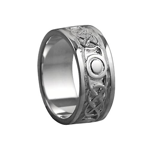 9ct White Gold 8mm Celtic Wedding Ring Size Q